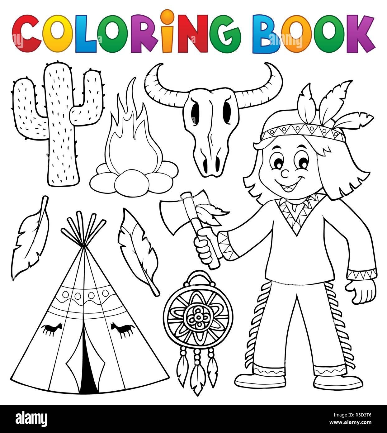 Coloring book Native American theme 2 Stock Photo: 227096470 - Alamy