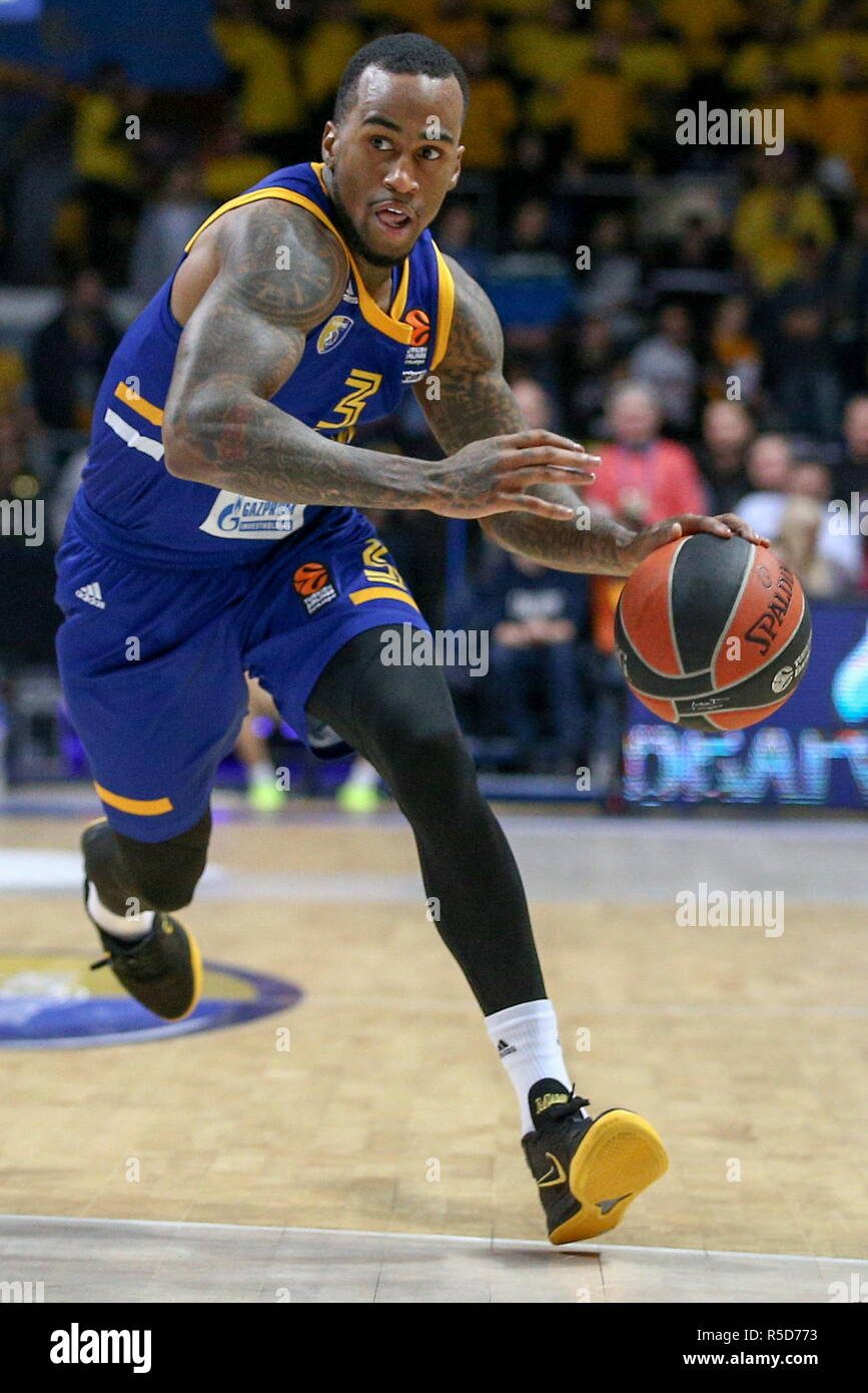 Russia. 30th Nov, 2018. MOSCOW REGION, RUSSIA - NOVEMBER 30, 2018: Khimki Moscow Region's Dee Bost in action in their 2018/19 Euroleague Regular Season Round 10 basketball match against Panathinaikos BC at Mytishchi Arena. Mikhail Aleksandrov/TASS Credit: ITAR-TASS News Agency/Alamy Live News - Stock Image