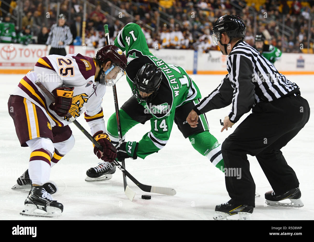 November 30, 2018 Minnesota-Duluth Bulldogs forward Peter Krieger (25) and North Dakota Fighting Hawks forward Jasper Weatherby (14) faceoff during a NCAA men's ice hockey game between the University of North Dakota Fighting Hawks and the Minnesota Duluth Bulldogs at Amsoil Arena in Duluth, MN. Minnesota Duluth won 5-0. Photo by Russell Hons/CSM Credit: Cal Sport Media/Alamy Live News - Stock Image