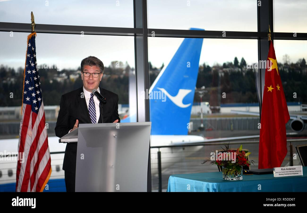 Seattle, Boeing airplane to China in Seattle. 30th Nov, 2018. John Bruns, president of Boeing China, delivers a speech during the delivering ceremony of the 2,000th Boeing airplane to China in Seattle, the United States on Nov. 30, 2018. Top U.S. aircraft manufacturer Boeing Company on Friday delivered its 2,000th airplane to China, which is a milestone for the U.S. aircraft maker in the world's largest commercial aviation market. Credit: Wu Xiaoling/Xinhua/Alamy Live News - Stock Image