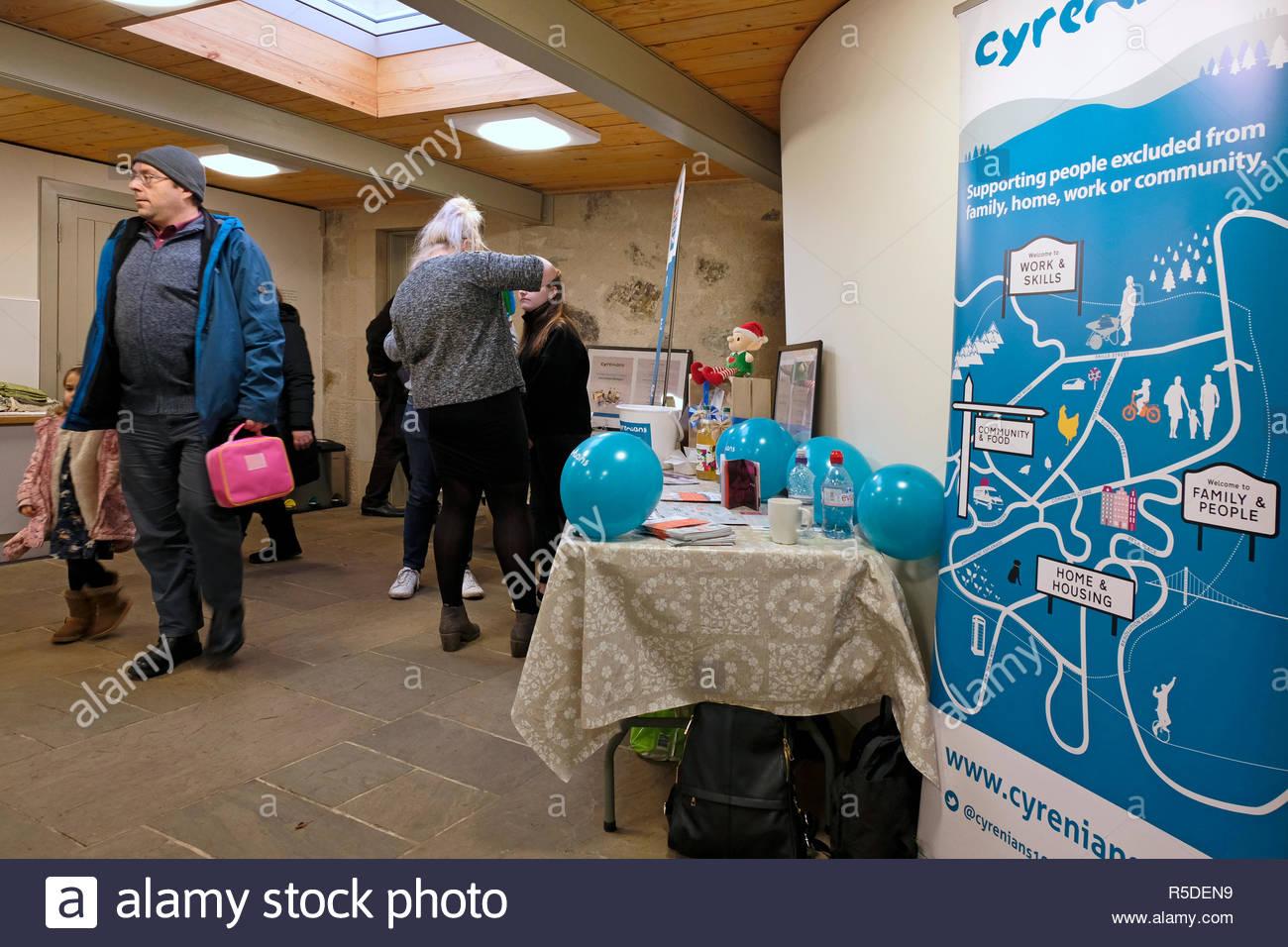 Edinburgh, Scotland, United Kingdom. 1st December,  2018.  St. Andrew Fair Event at the Botanic Cottage, Royal Botanic Garden, raising money for the Cyrenians charity helping the homeless.   Credit: Craig Brown/Alamy Live News. Stock Photo