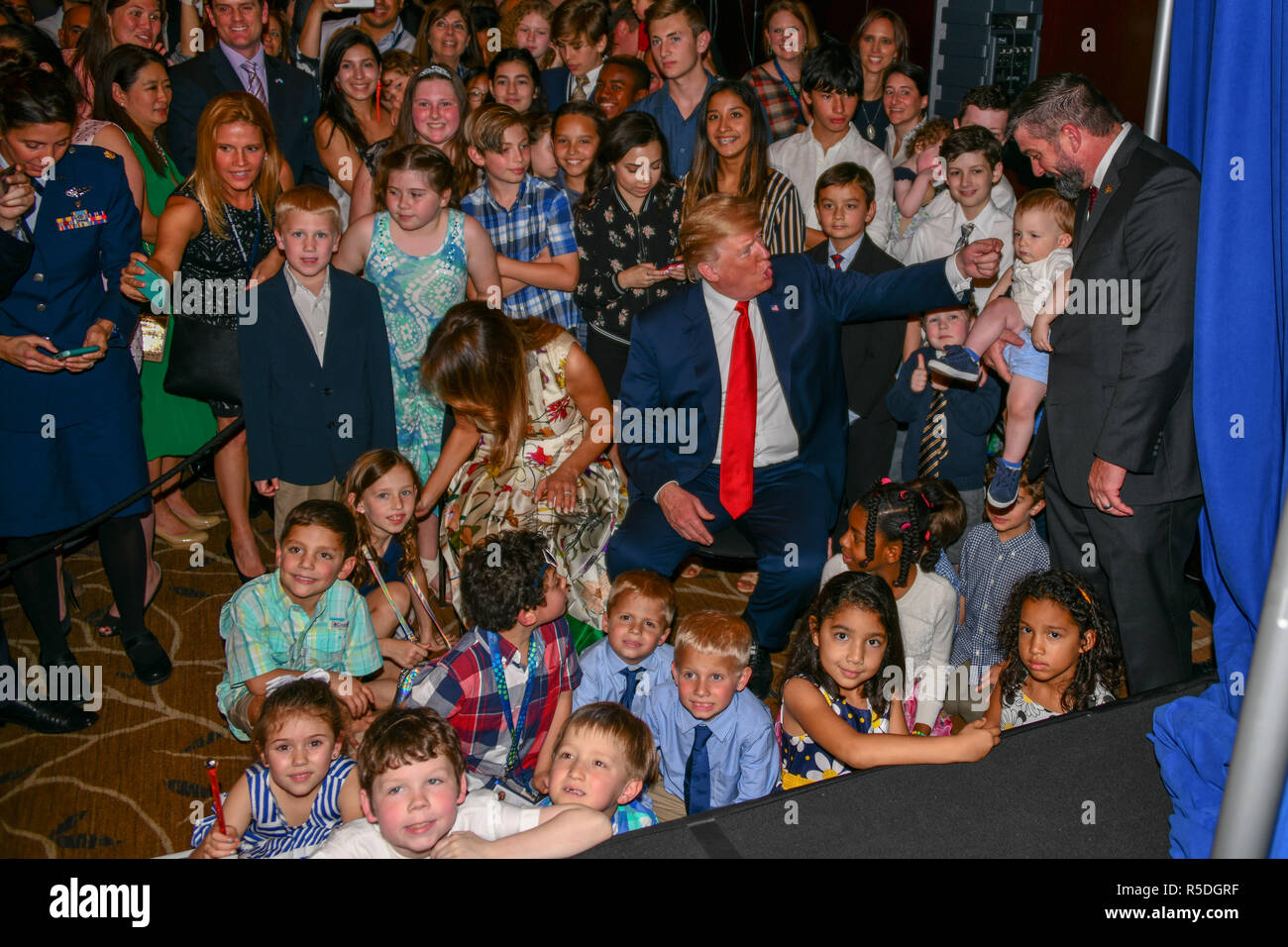 Buenos Aires, Argentina. 1st December, 2018. Argentina. 1st December 2018. Buenos Aires, Argentina. 30th November 2018. U.S. President Donald Trump, and First Lady Melania Trump during a meet and greet with staff and families of US Embassy November 30, 2018 in Buenos Aires, Argentina. 30th November 2018 Credit: Planetpix/Alamy Live News Credit: Planetpix/Alamy Live News - Stock Image