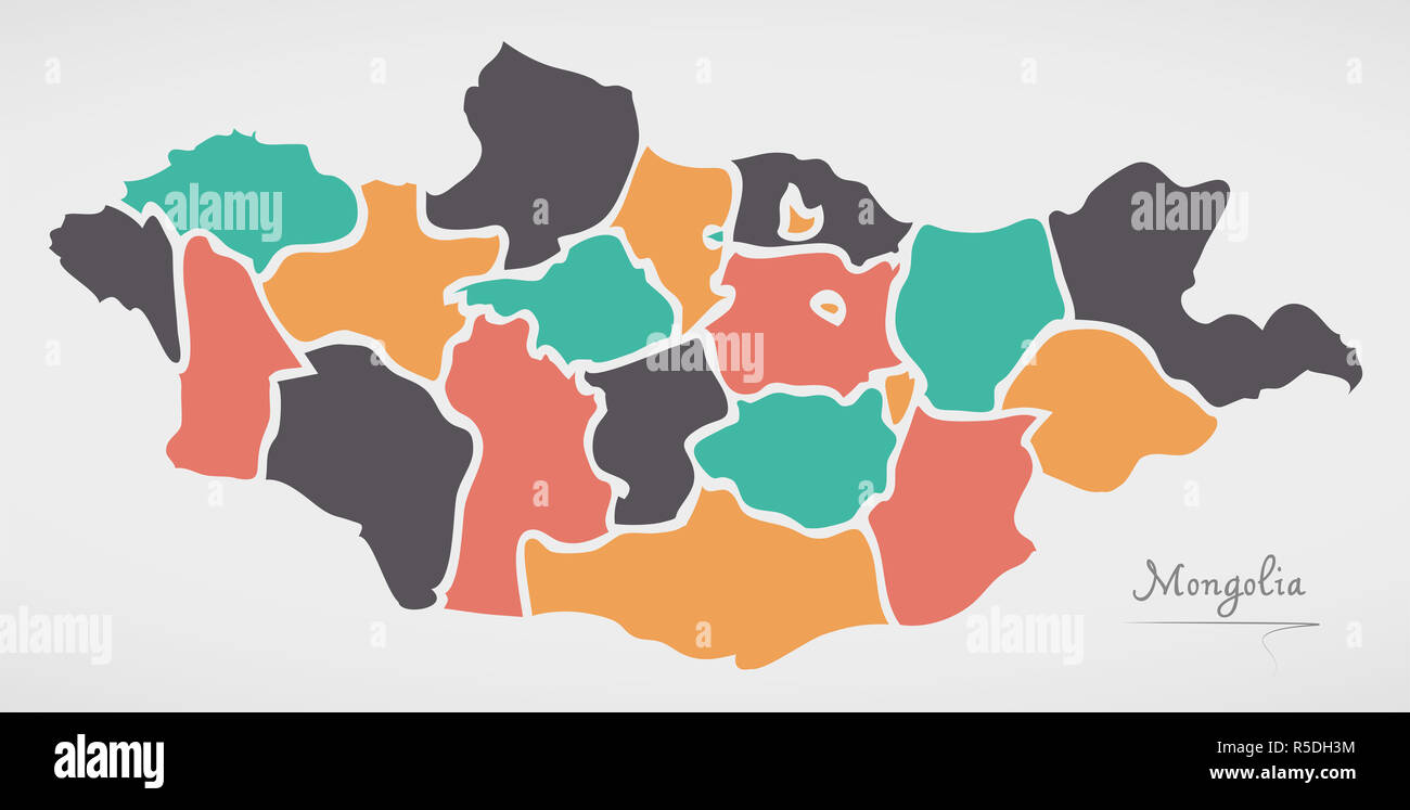 Mongolia Map with states and modern round shapes - Stock Image
