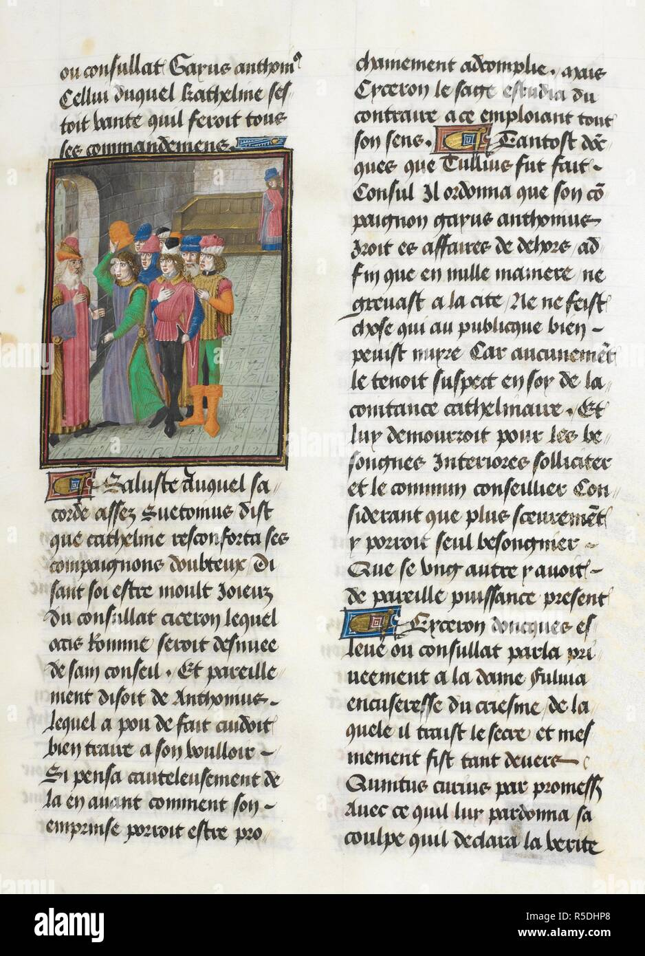 Catiline and conspiritors (Book 1, 21). Caesar, translated by Jan Du Quesne (or Jean Duchesne), Bellum Gallicum ( Les commentaires de Cesar ). 1473-1476. Source: Royal 16 G.VIII, f.47. Author: JULIUS CAESAR. Du Quesne, Jehan. Circle of the Master of the London Wavrin. - Stock Image