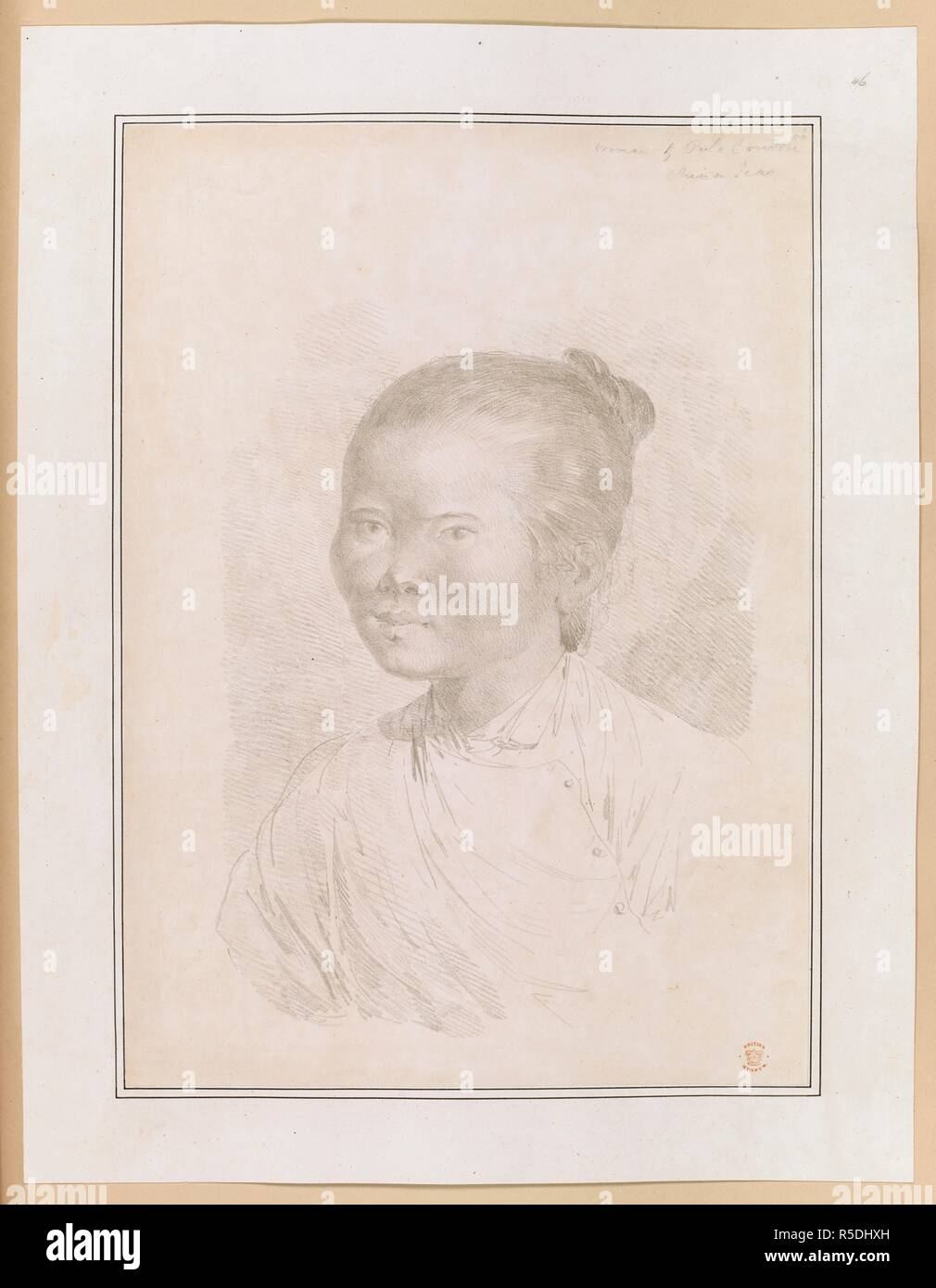 Woman of Pulo Condore.; pencil drawing. Sketches and coloured drawings made by J. Webber, during Captain Cook's third voyage, in 1776-1780 ... 1776-1780. Source: Add. 17277, no.46. - Stock Image