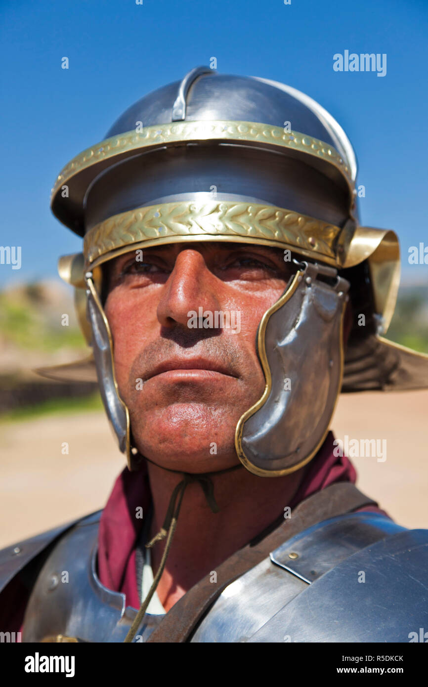 Jordan, Jerash, Roman Army and Chariot Experience, Roman-era military show, Centurion Stock Photo