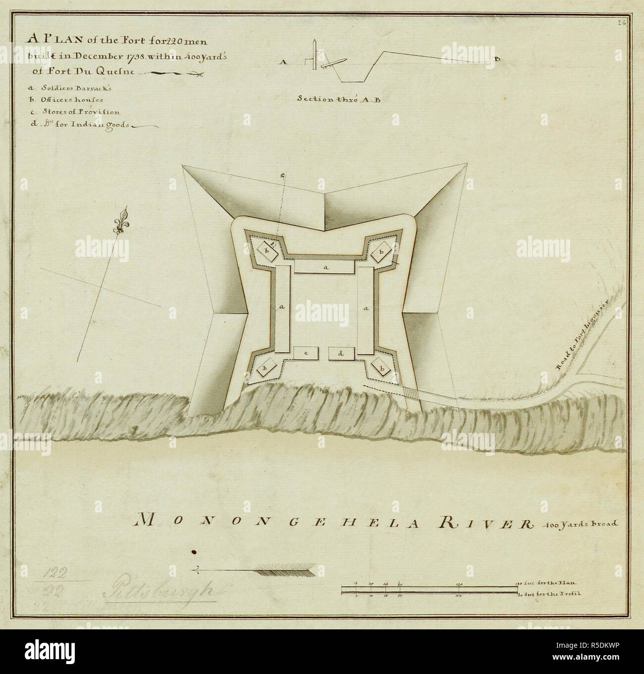 A plan of the fort for 220 men, built in December, 1758, within 400 yards of Fort du Quesne, Pennsylvania. A PLAN of the Fort for 220 men built in December 1758 within 400 Yard's of Fort du Quesne. [Fort Pitt?] : [producer not identified], about 1758. Source: Maps K.Top.122.22. Language: English. - Stock Image