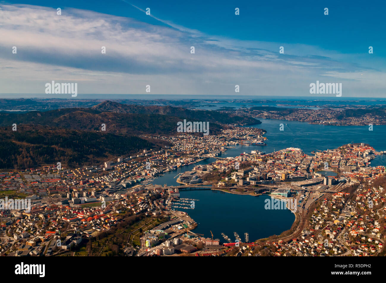 A birds eye view over the beautiful city of Bergen in Norway on a sunny day. - Stock Image