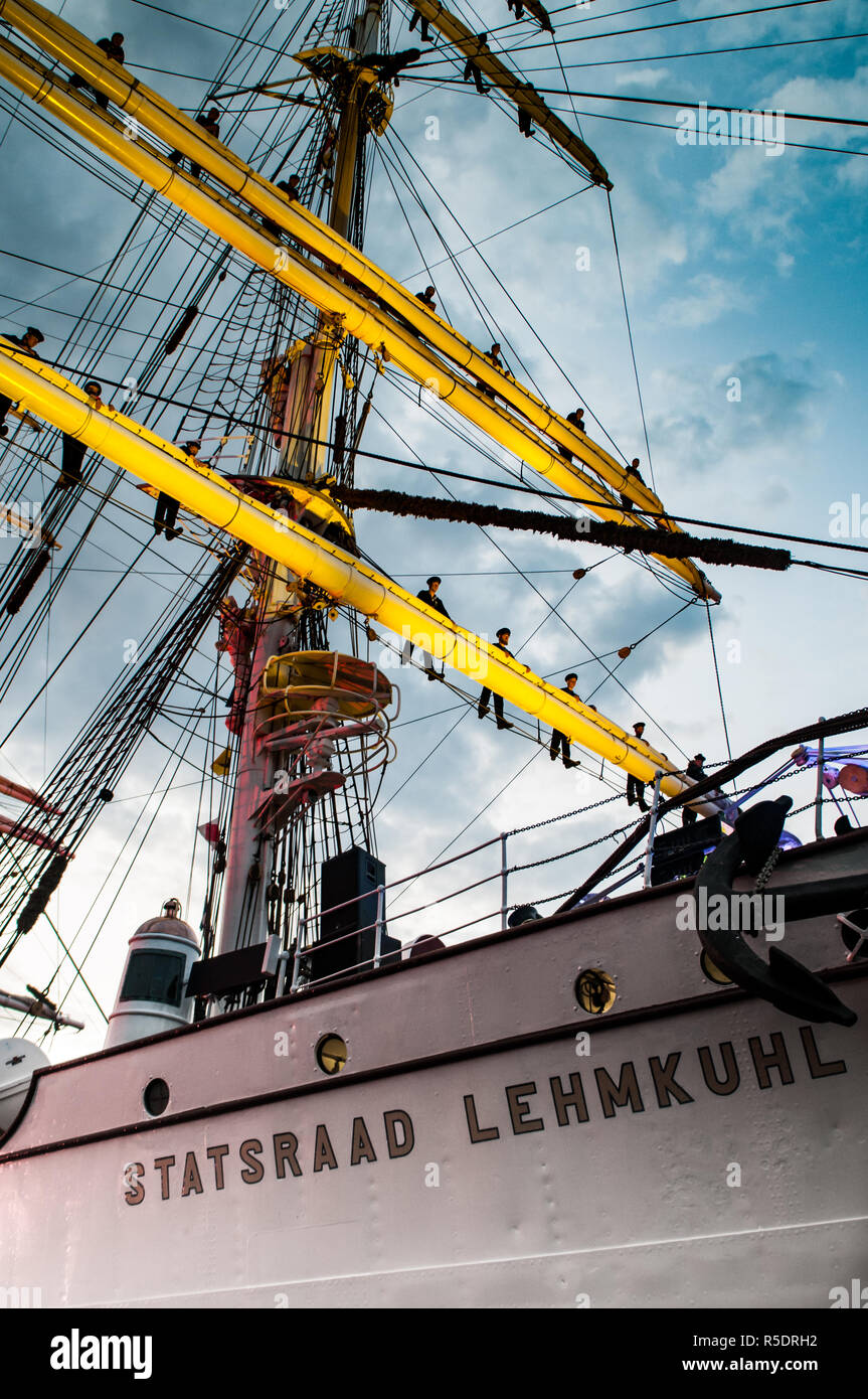 The Crew standing on the masts of the Statsraad Lehmkuhl sailing ship Bergen Tall ship races 2014 - Stock Image