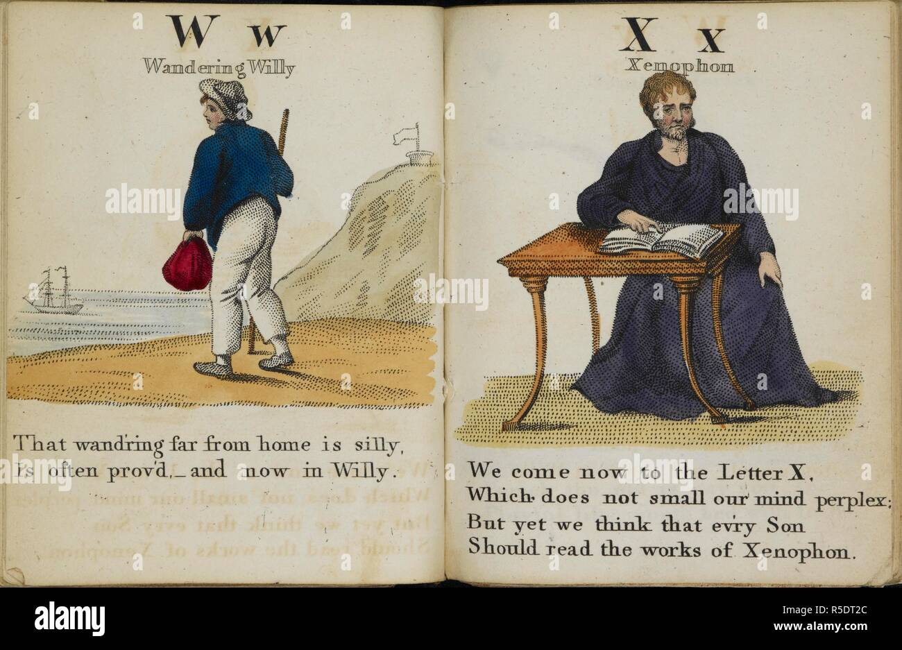 Colour illustrations in an alphabet book. 'W' represented by 'wandering Willy;and 'X' represented by Xenophon. The History of Mother Twaddle, and the marvellous atchievements of her son Jack. By. B. A. T. London : J. Harris, 1807. Source: Ch.800/111.(1). - Stock Image