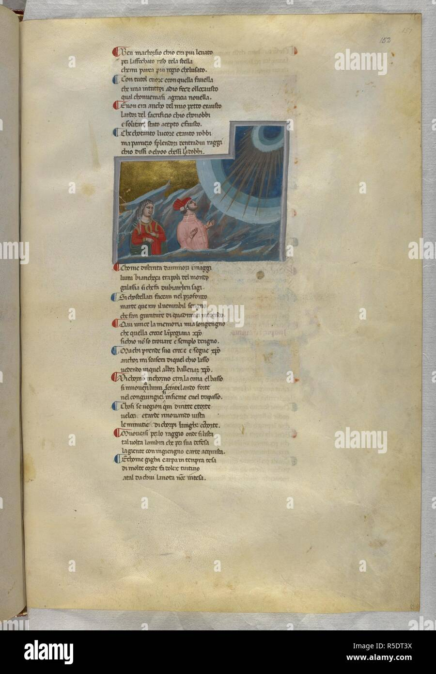 Paradiso : Dante turns towards the heavenly light. Dante Alighieri, Divina Commedia ( The Divine Comedy ), with a commentary in Latin. 1st half of the 14th century. Source: Egerton 943, f.152. Language: Italian, Latin. - Stock Image