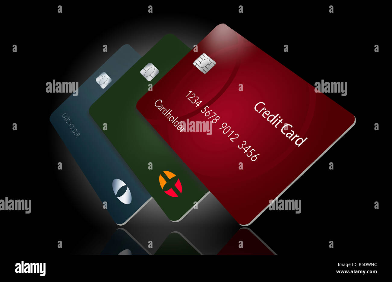 Three credit cards cast their shadow in this 3-D illustration of cards hovering over a white surface making a dramatic view of ordinary cards. - Stock Image