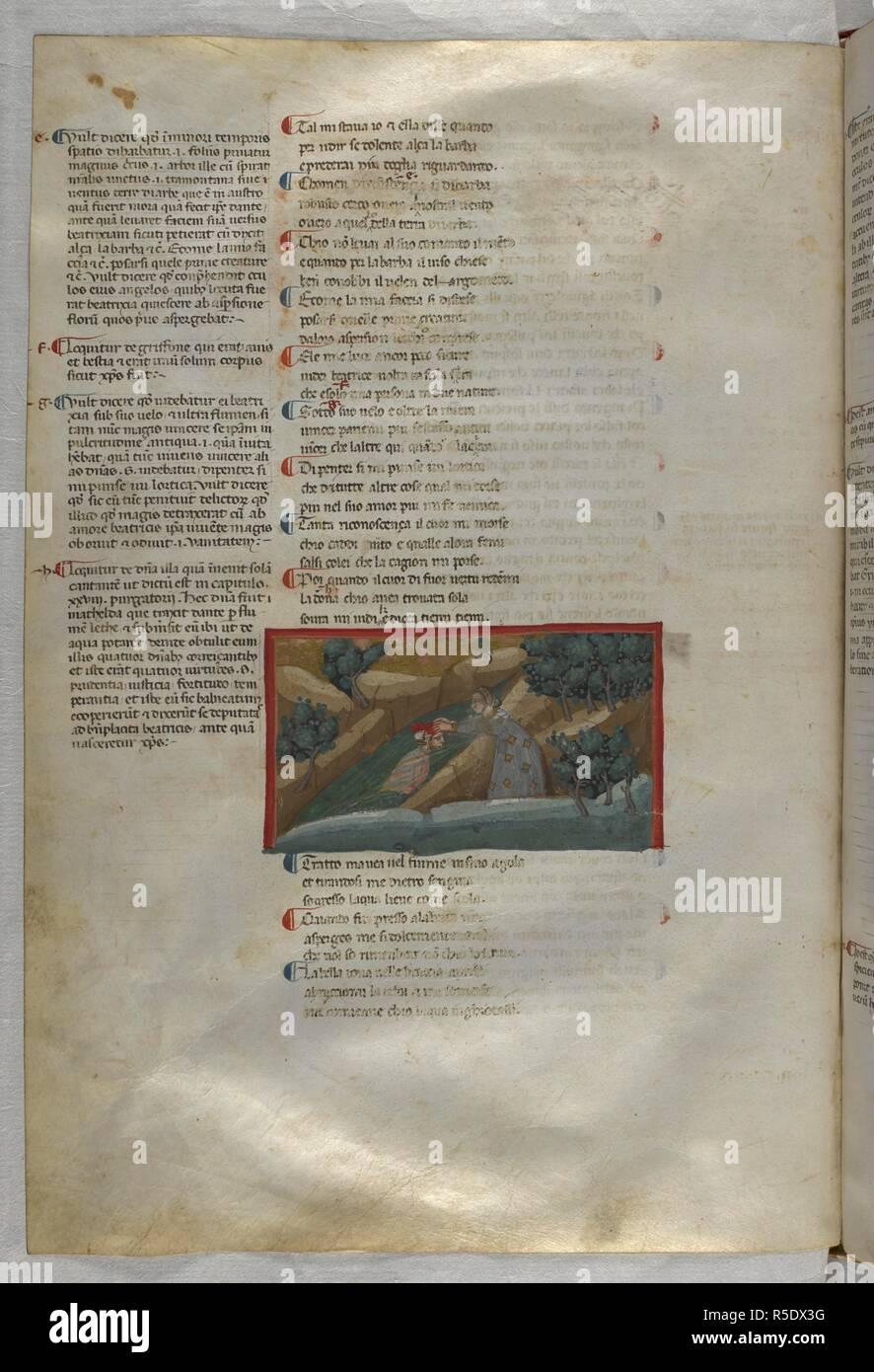 Purgatoria: Matilda immerses Dante in the River Lethe. Dante Alighieri, Divina Commedia ( The Divine Comedy ), with a commentary in Latin. 1st half of the 14th century. Source: Egerton 943, f.120v. Language: Italian, Latin. - Stock Image