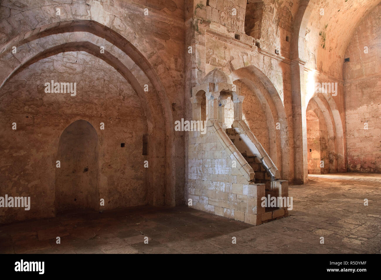 Syria, crusader's castle of Krak Des Chevaliers (Qala'at al Hosn), a UNESCO Site, Christian Chapel converted into a Mosque with islamic minbar (pulpit) - Stock Image