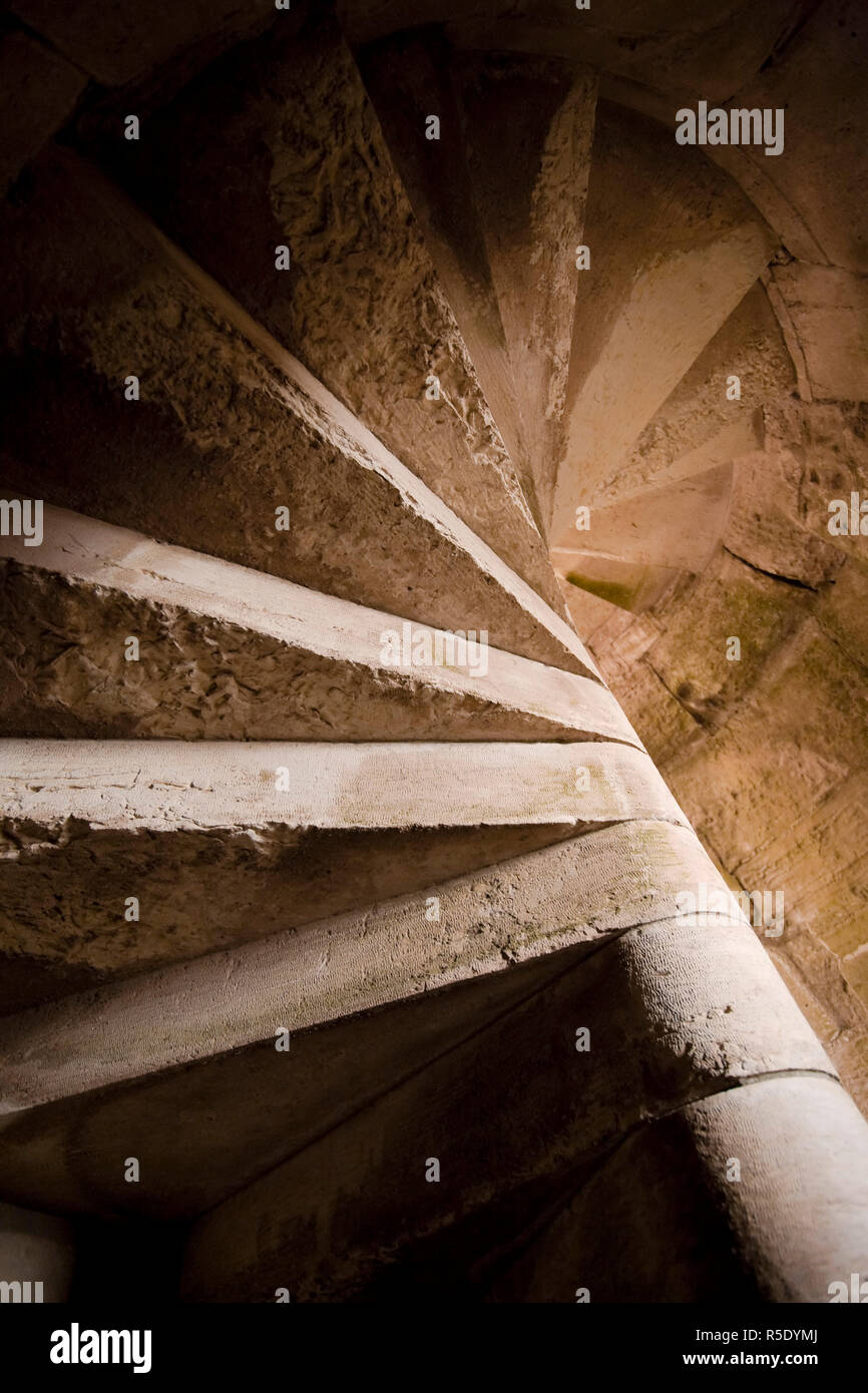 Syria, crusader's castle of Krak Des Chevaliers (Qala'at al Hosn), a UNESCO Site, Stairwell - Stock Image