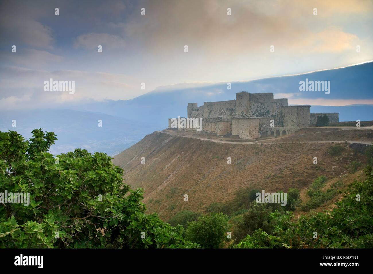 Syria, crusader's castle of Krak Des Chevaliers (Qala'at al Hosn), a UNESCO Site - Stock Image