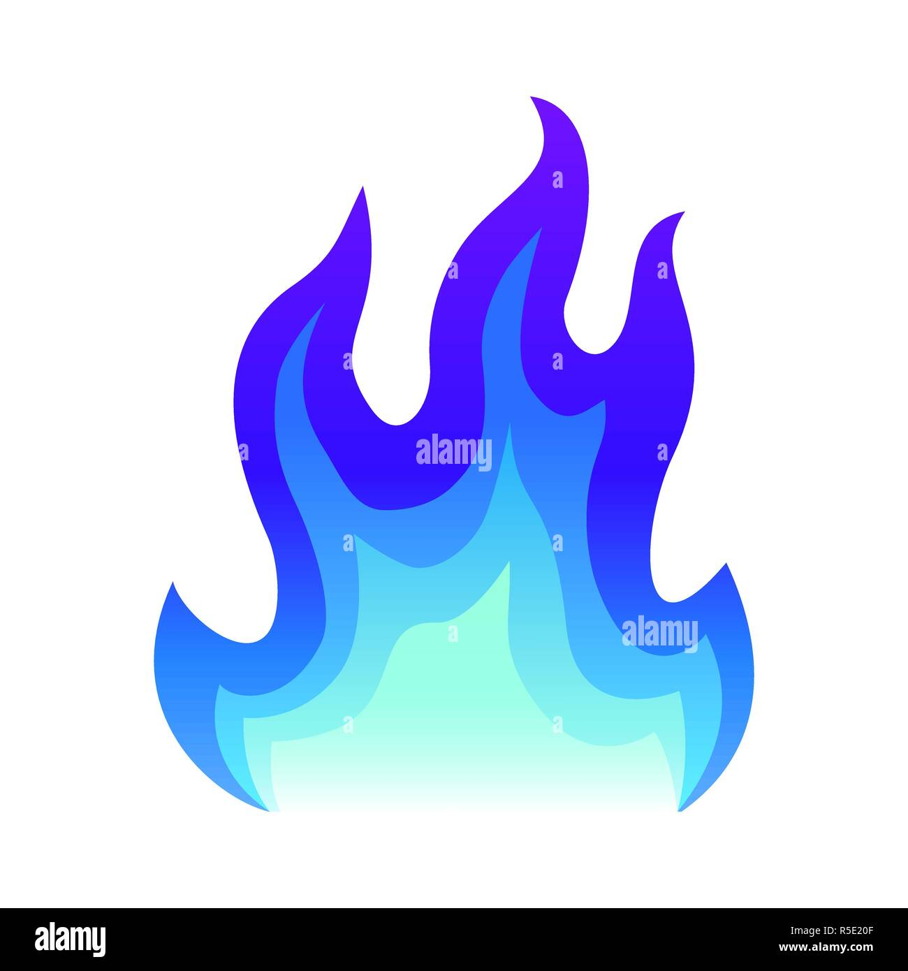 Blue fire icon Flat fire flame vector illustration. blue flame or campfire isolated on white - Stock Image