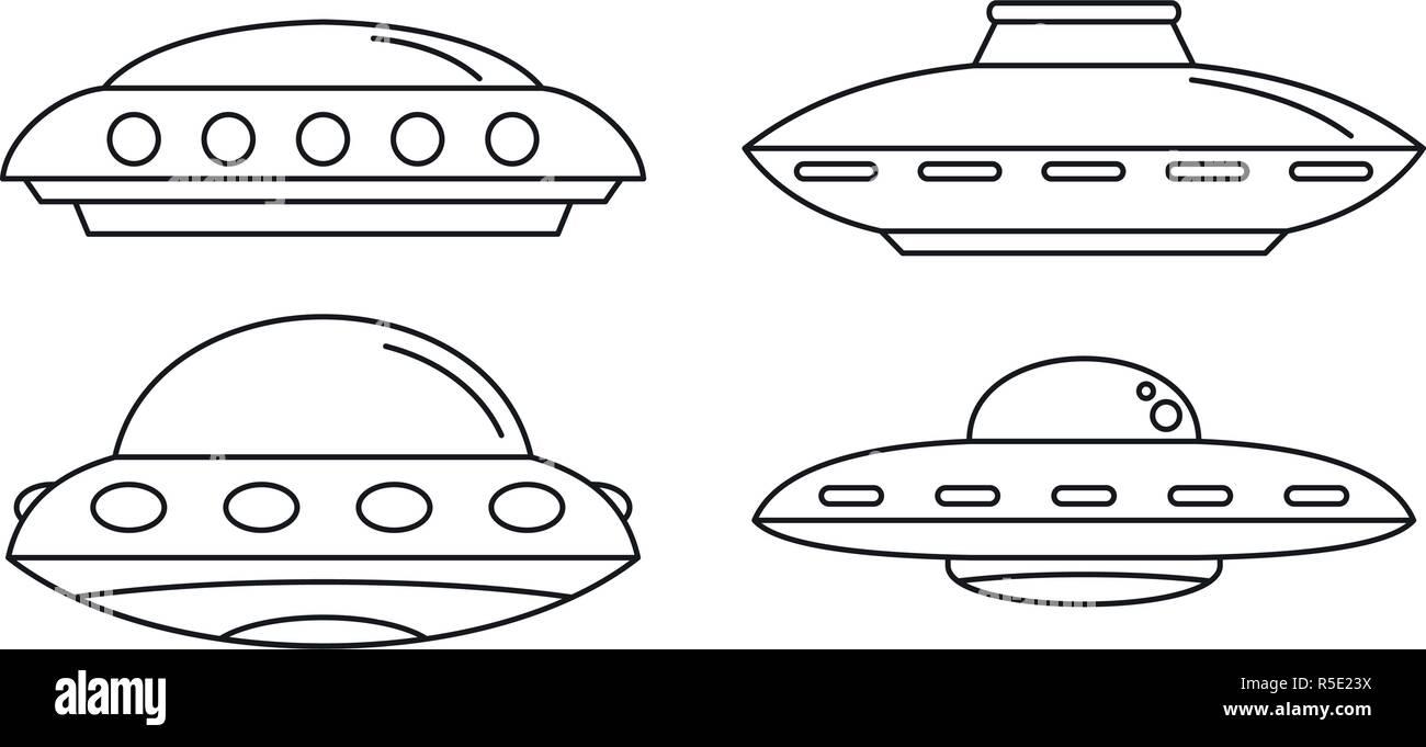 UFO Spaceship Icon Set. Outline Set Of UFO Spaceship