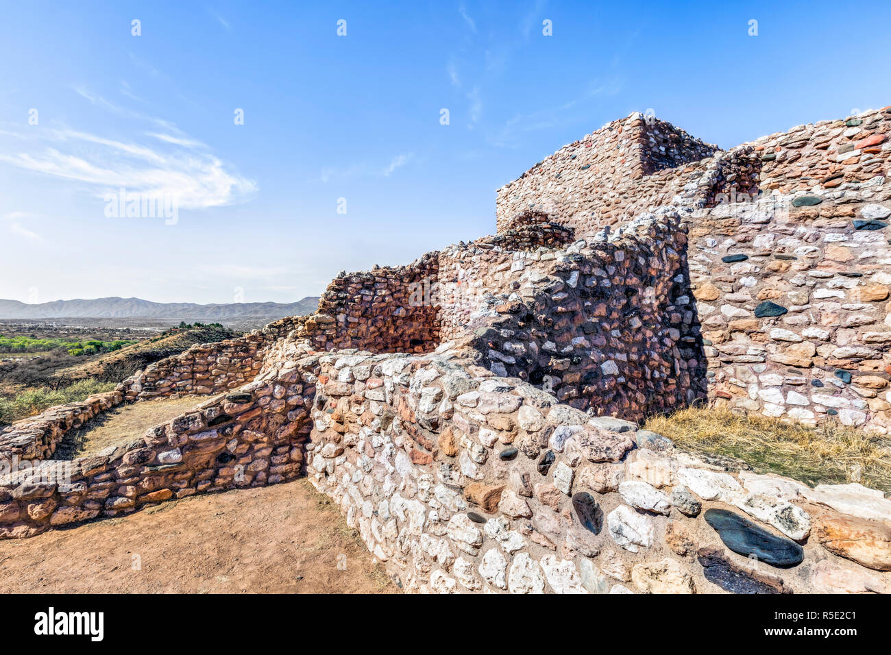 Arizona's Tuzigoot National Monument is the site of one of the largest and best-preserved pueblo dwellings built by the Sinagua people between 1125 an Stock Photo