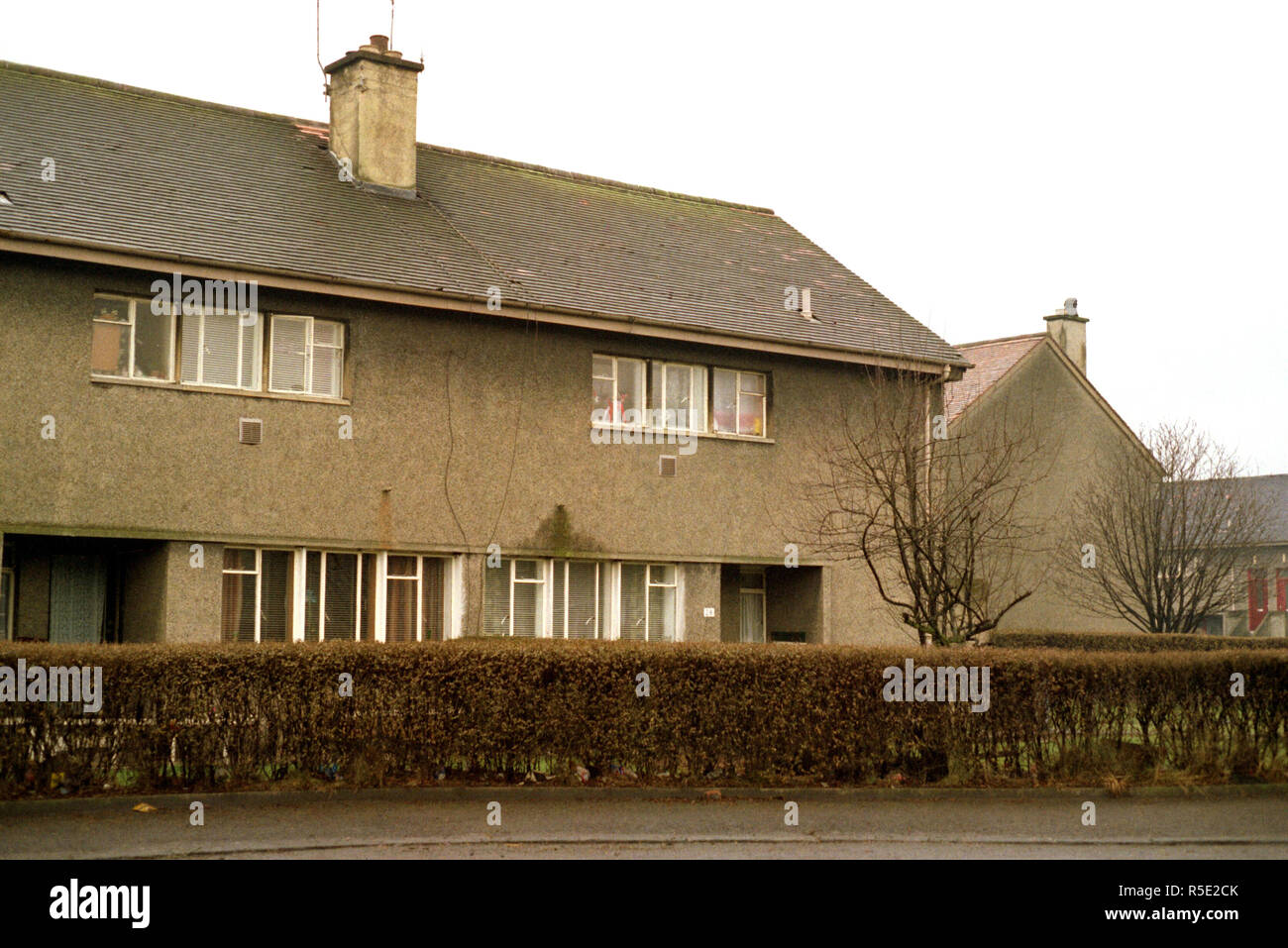Council house in Whitecrook, Clydebank, a duplex house. People live below, people live above. 1981 - Stock Image