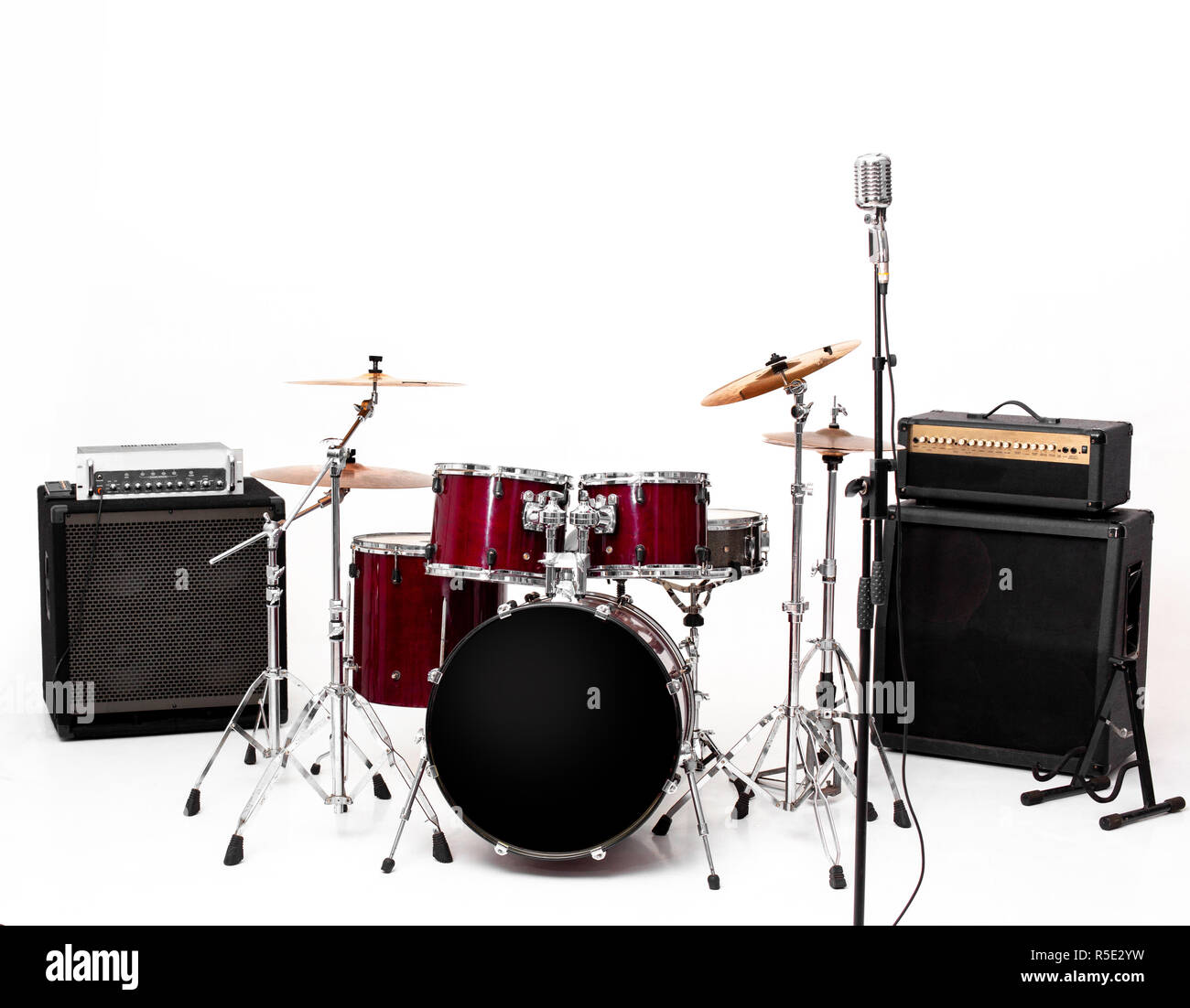 drum set on white background. musical instruments Stock Photo