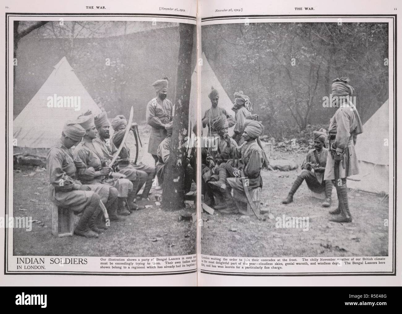 'Indian soldiers in London'. 'Bengal lancers in a camp near London waiting to join comrades at the front.' . The War. 1914. Source: The War, November 28, 1914, pages 10-11. - Stock Image