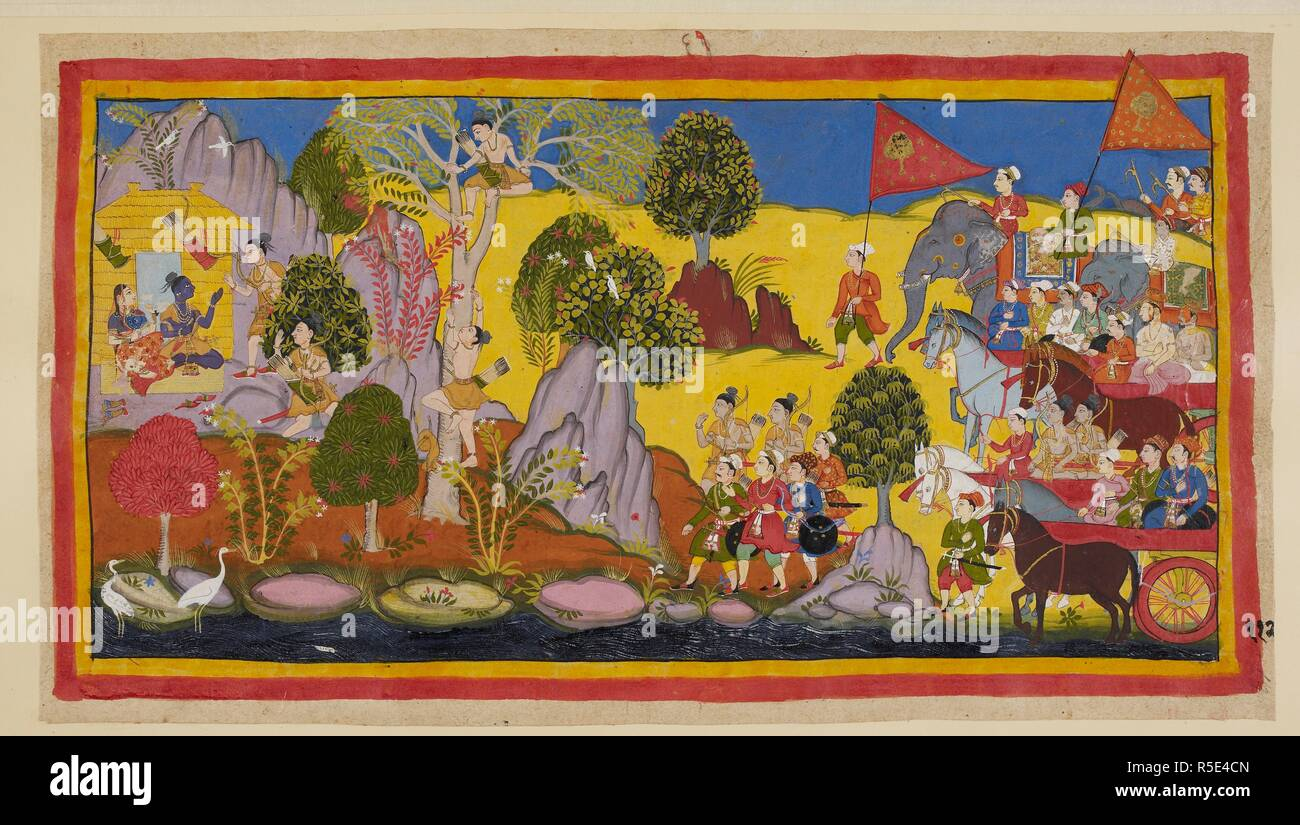 The tumult of the approaching army having alarmed Rāma, he tells Lakṣmaṇa to climb up a tree to find out what is causing the din. Lakṣmaṇa climbs a flowering sāla tree and recognises in the distance Bharata's standard with the orchid tree. He then reports to Rāma the army's approach and vows to destroy it, believing that Bharata comes as an enemy. Rāma pacifies Lakṣmaṇa, refusing to believe that their brother comes as an enemy and Lakṣmaṇa is ashamed of his outburst. Giving strict instructions that the army is not to disturb the peace of the place, Bharata and Śatrughn - Stock Image