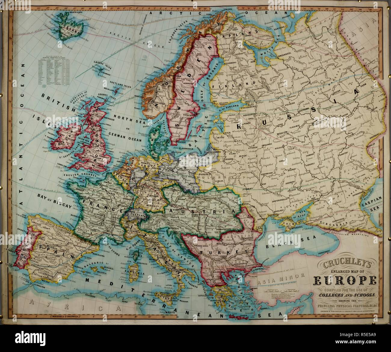 A 19th century coloured map of Europe, compiled for use in ...