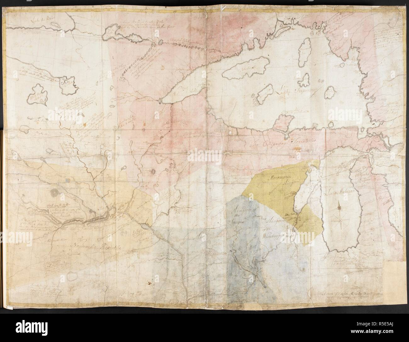 Map of central Canada, with Lake Superior, Lake Michigan and ...