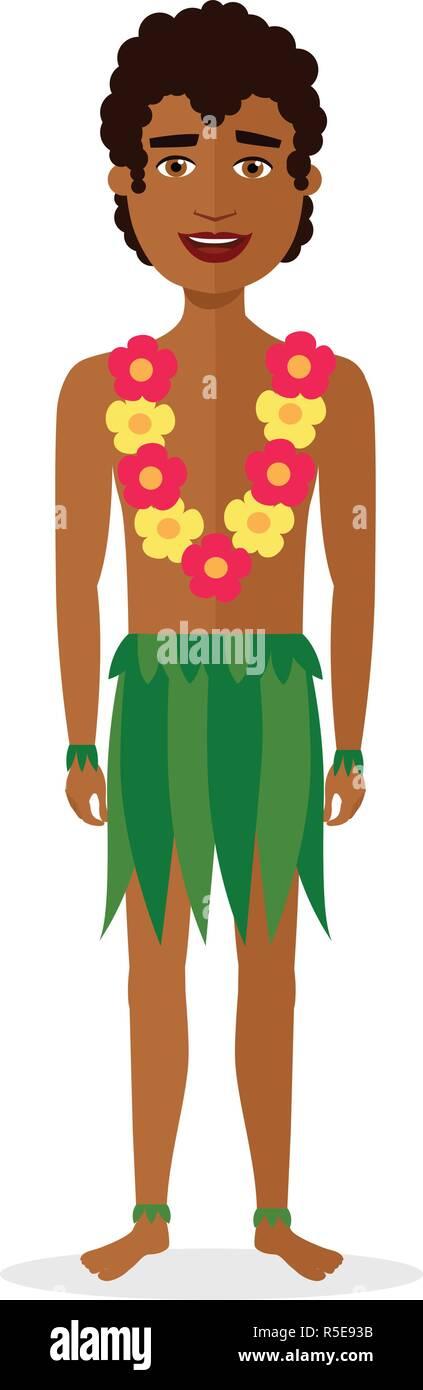 Hawaiian  man in national clothes holidays in the Hawaiian Islands vector cartoon character flat isolated on white - Stock Vector