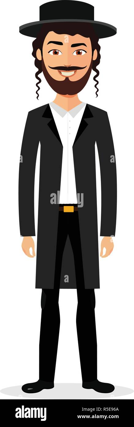Jewish man jew vector character isolated on white background EPS 10 - Stock Vector