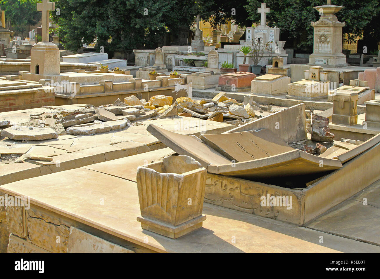 CAIRO, EGYPT - MARCH 01: Desecrated Tombs at Graveyard in Cairo on MARCH 01, 2010. Destroyed and Ruined Graves at Cemetery in Cairo, Egypt. - Stock Image