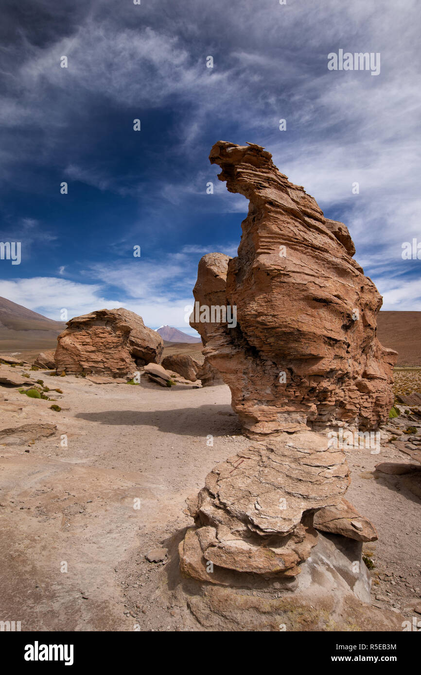 Rock formations near to La Laguna Negra in the Potosi Department of Bolivia - Stock Image