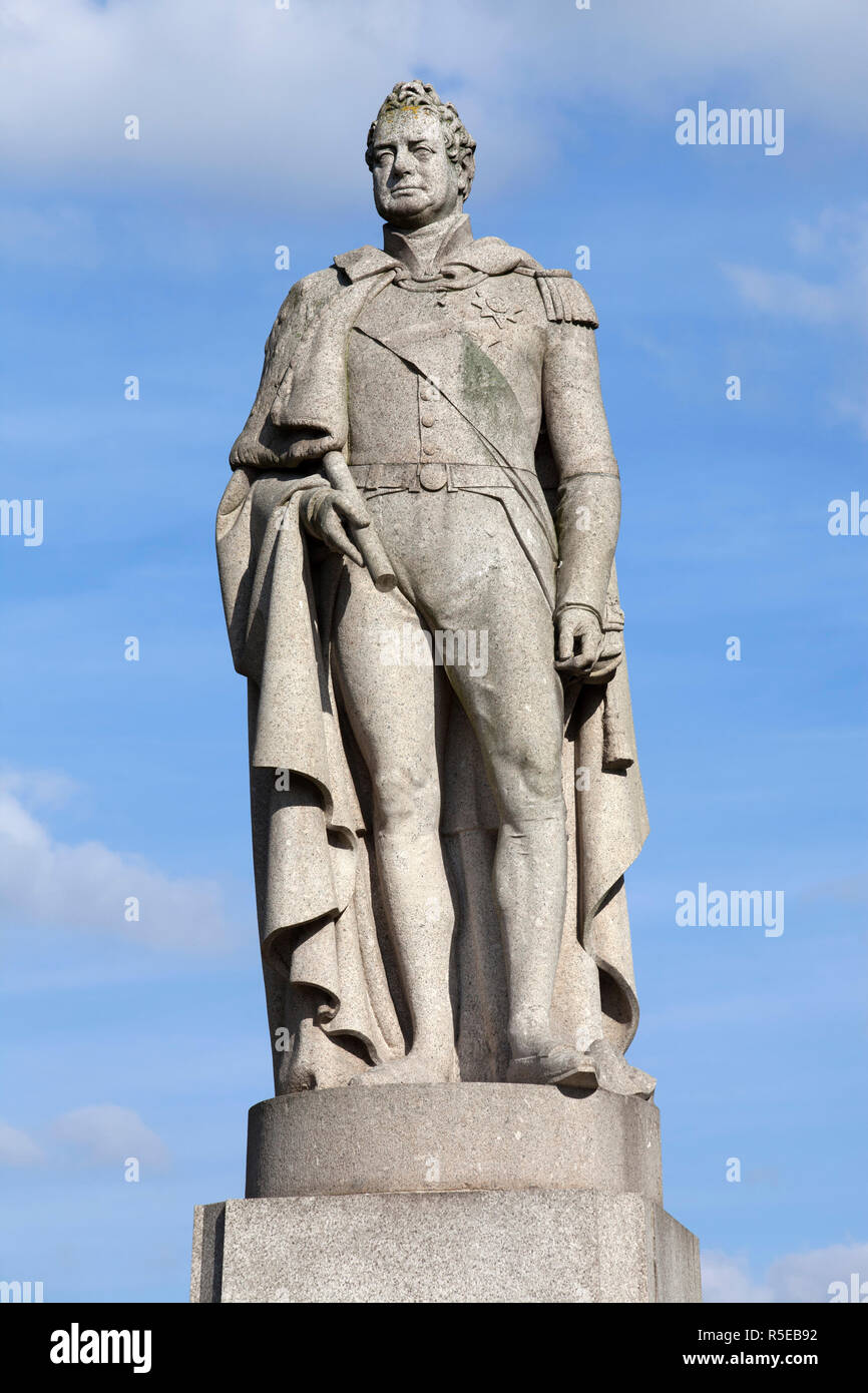 Granite statue of king William 4th (1765-1837 King of United Kingdom of Great Britain and Ireland, reigned 1830-1837, and of Hanover) - Stock Image