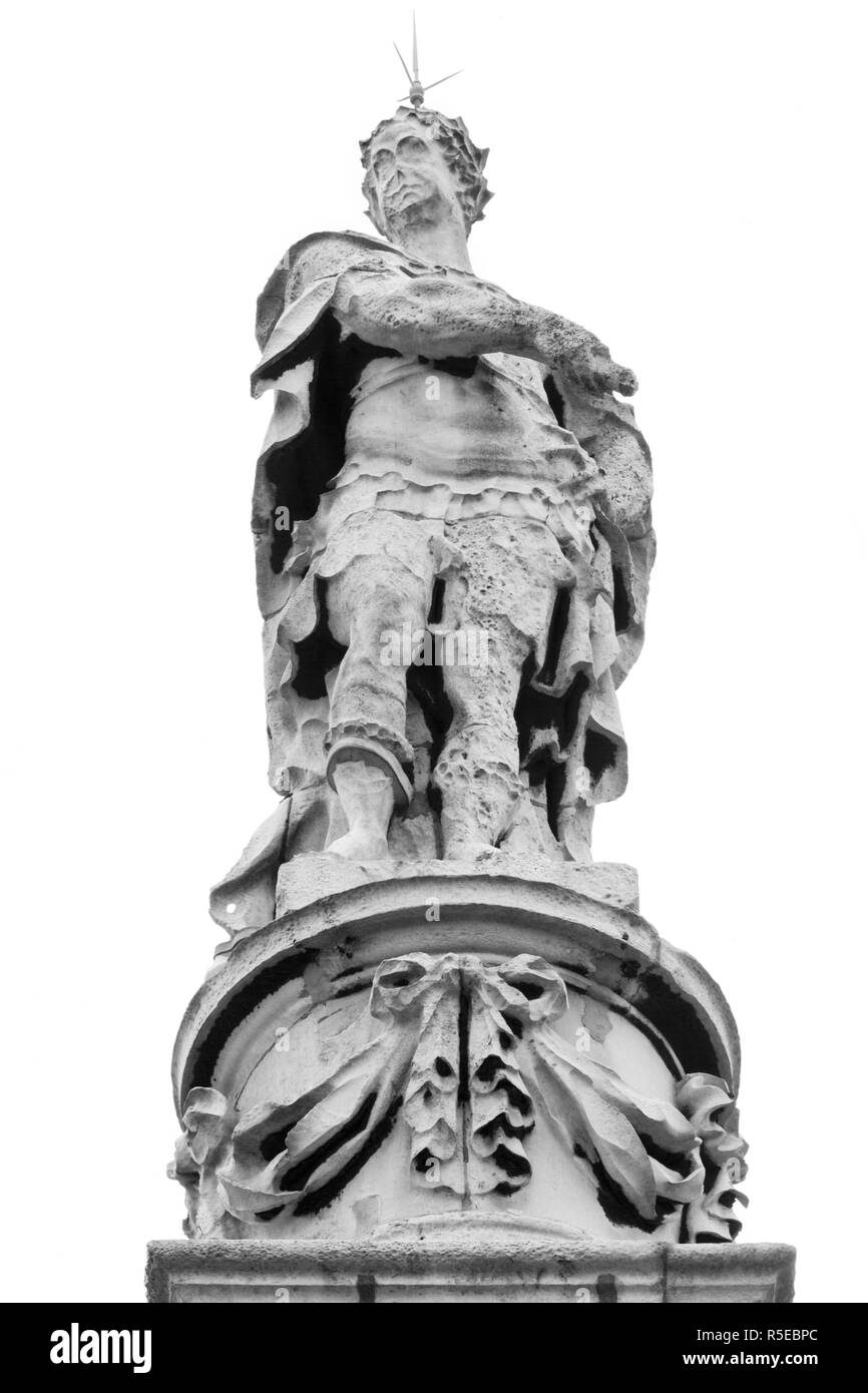 The only London statue of King George 1st tops the steeple of St George's Church in Bloomsbury Way. Weathered, its head bears a lightning conductor. - Stock Image