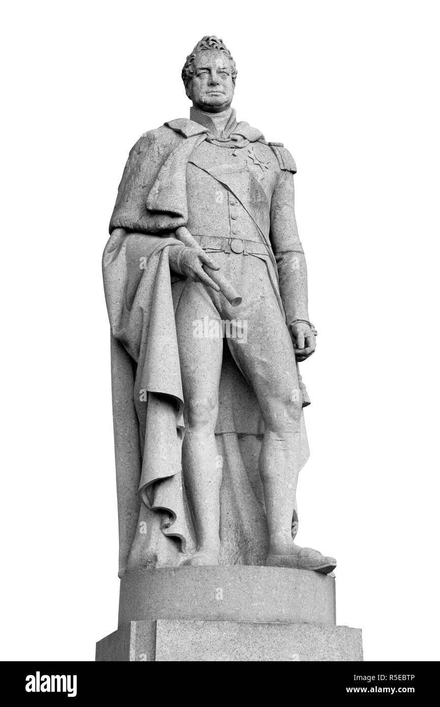 Granite statue of king William 4th (1765-1837 King of United Kingdom of Great Britain and Ireland, reigned 1830-1837, and of Hanover) in Greenwich - Stock Image