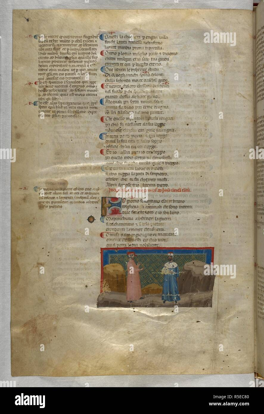 Inferno: Virgil explains to Dante how he has been asked to guide him. Dante Alighieri, Divina Commedia ( The Divine Comedy ), with a commentary in Latin. 1st half of the 14th century. Source: Egerton 943, f.4v. Language: Italian, Latin. - Stock Image