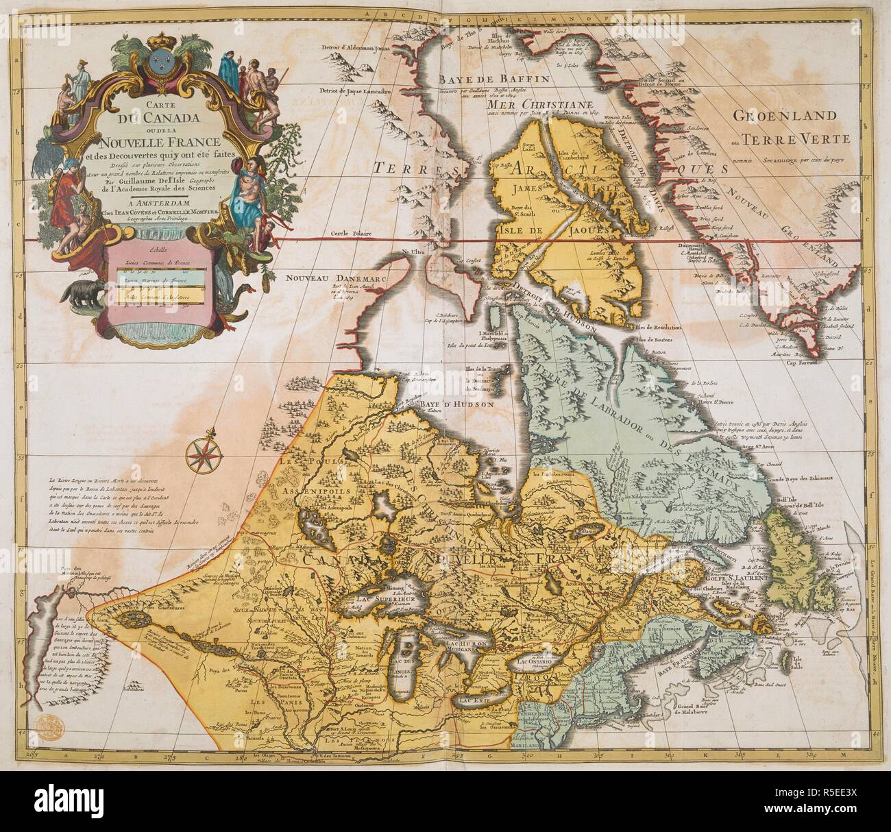 Map Of Canada In French.An 18th Century Map Of Canada Showing French Territories