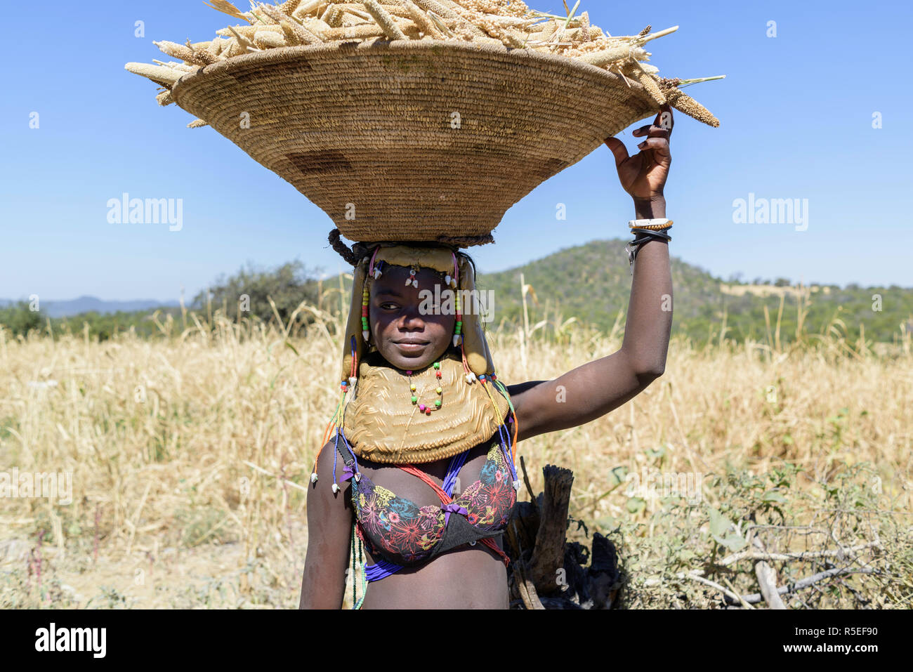 Portrait of a young pregnat Muila woman with traditional ornaments and hairstyle, wearing a fancy brass and carrying millet in a basket on her head. - Stock Image