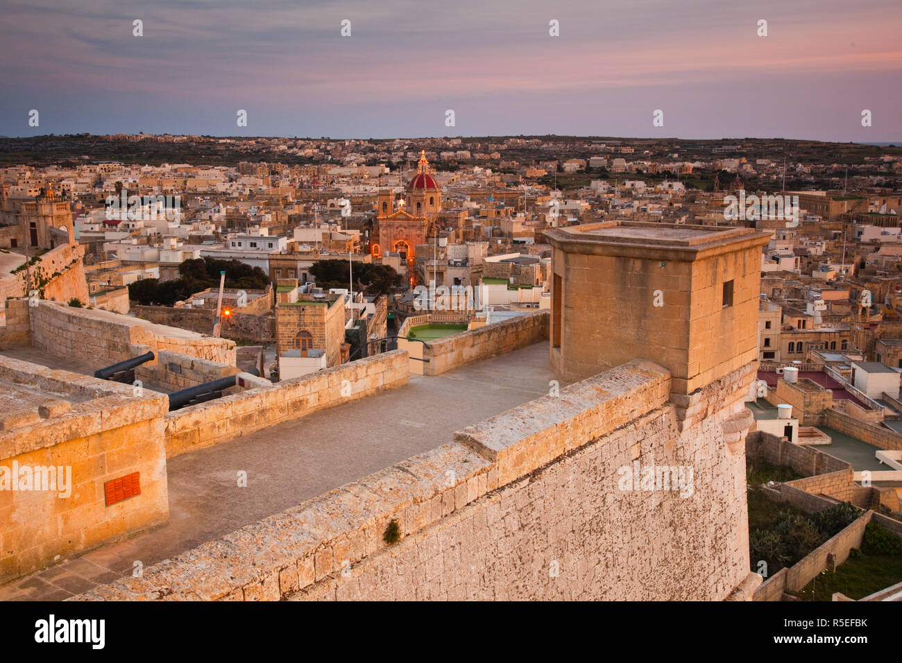 Malta, Gozo Island, Victoria-Rabat, elevated town view with Basilica of St. George from Il-Kastell fortress Stock Photo