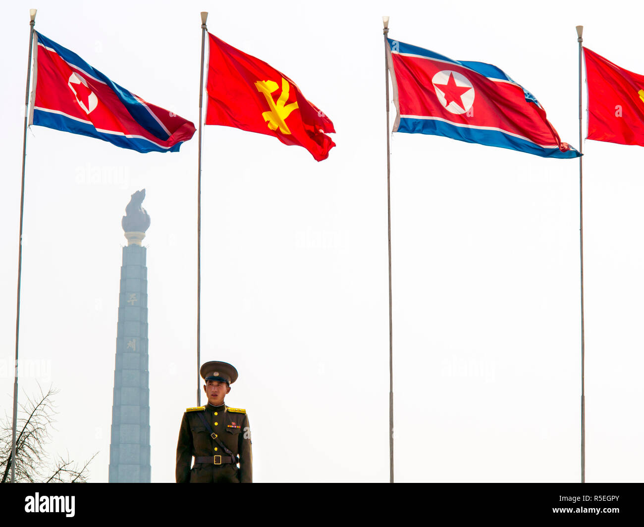 Democratic Peoples's Republic of Korea (DPRK), North Korea, Pyongyang, Juche Tower (symbol of the Juche Idea, penned by Kim Il Sung) - Stock Image