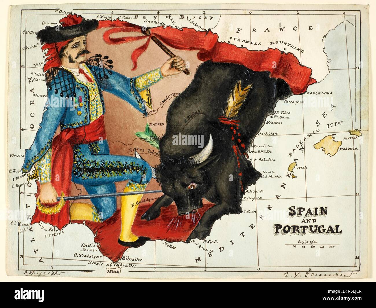 Map 24 Spain.Map Of Spain And Portugal Represented As A Matador And Bull Spain
