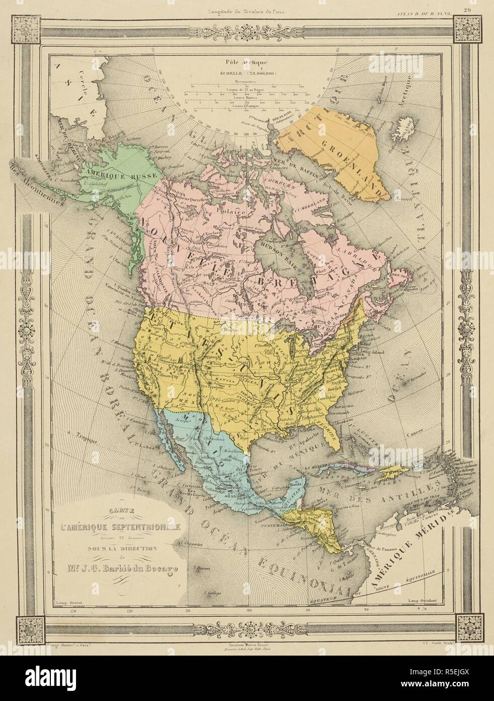 A map of North and Central America. Atlas: AmeÌ rique ... United States Map Asie on europe map, iran map, voyage map, afrique map, portugal map, bangladesh map, nature map, africa map, religion map,