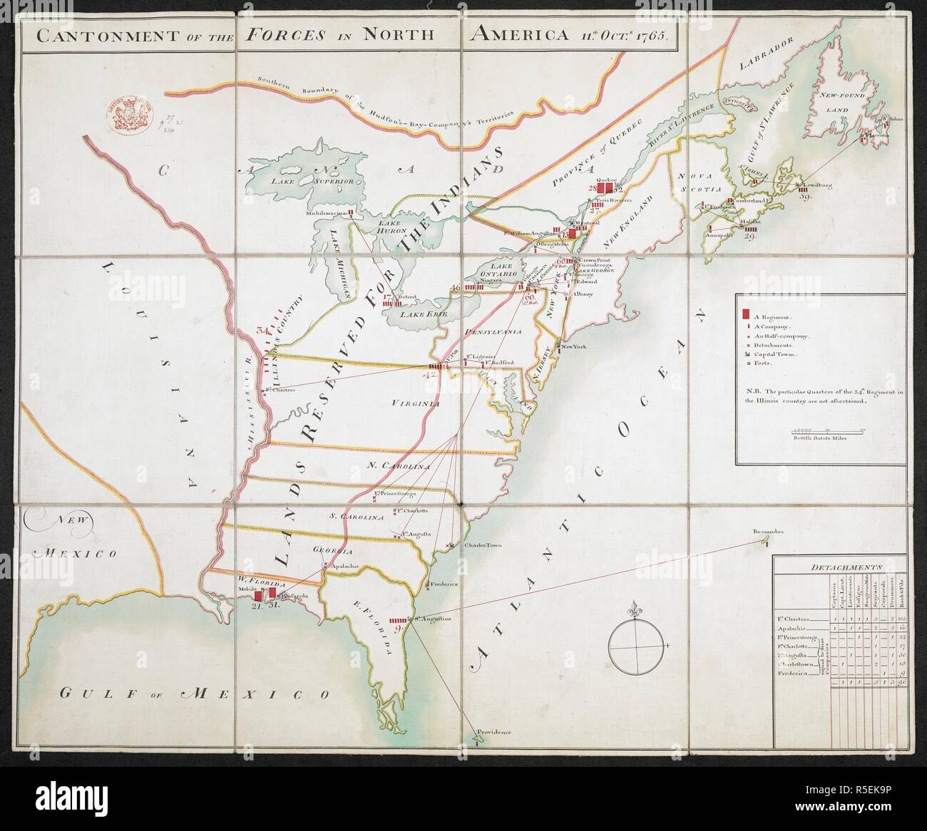 Map of the Cantonment of the Forces in North America, 11th Oct. 1765 ...