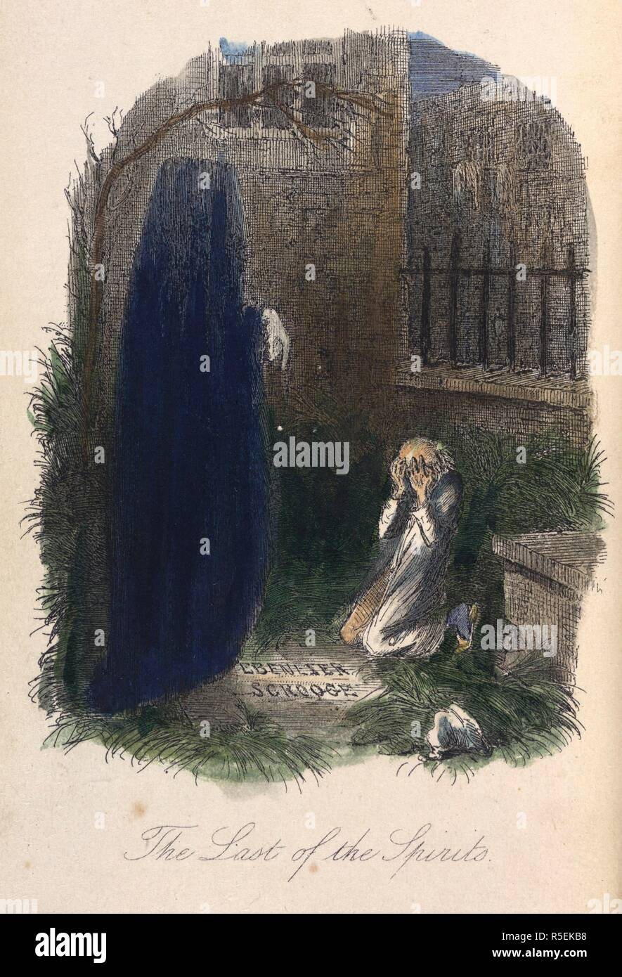 The Last of the Spirits. Ebenezer Scrooge visited by the last ghost. A Christmas Carol in prose. Chapman & Hall: London, 1843. Colour illustration from 'A Christmas Carol in prose. Being a Ghost-story of Christmas', by Charles Dickens, With illustrations by John Leech. Source: C.58.b.7, opposite 151. Language: English. - Stock Image