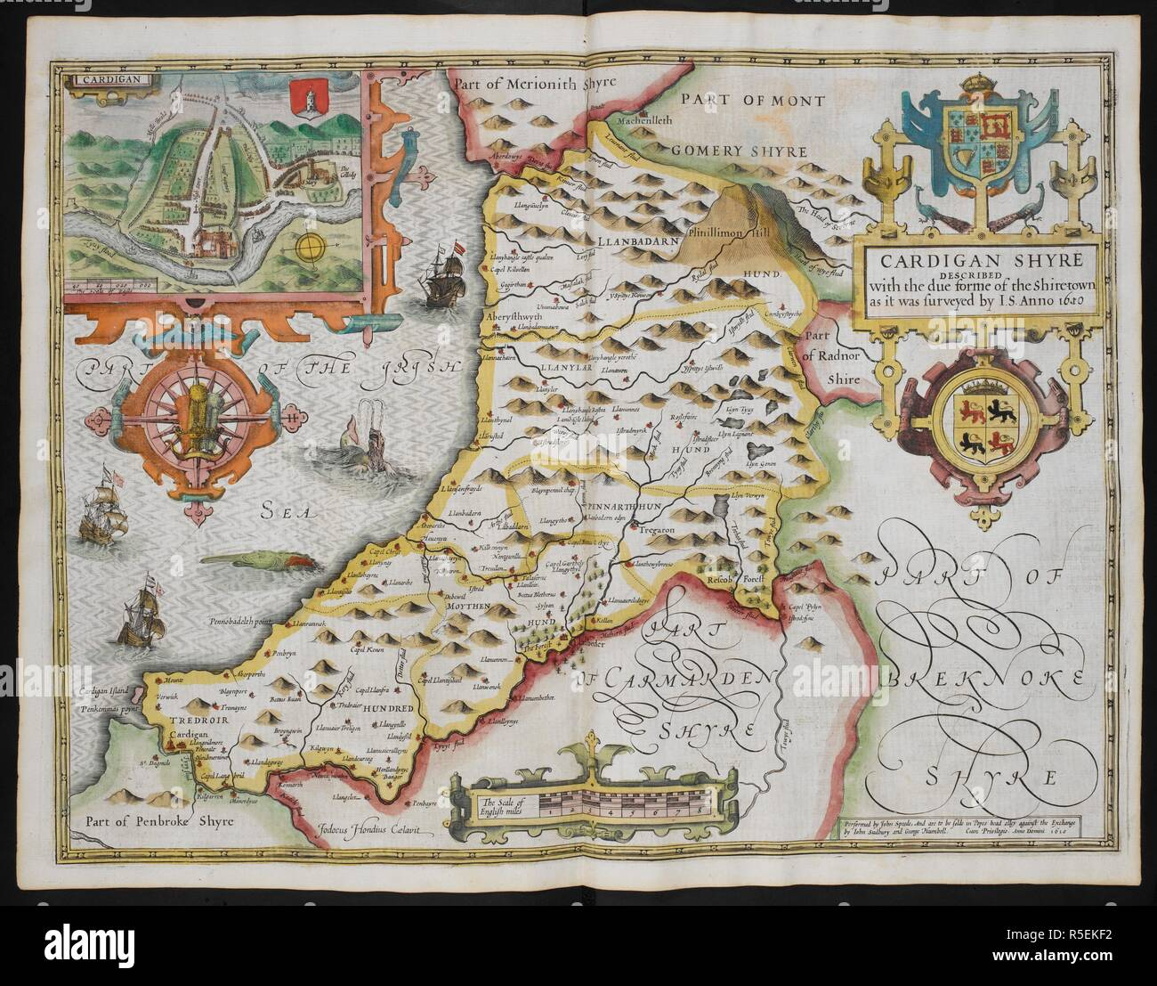 Cardigan Shyre described with the due forme of the Shiretown as it was surveyed by I.S. annon 1610. A map of Cardiganshire; inset, a map of Cardigan. The Theatre of the Empire of Great Britain. London : John Sudbury & George Humble, 1611. Source: Maps C.7.c.20.(2.), f.113. Author: SPEED, JOHN. - Stock Image