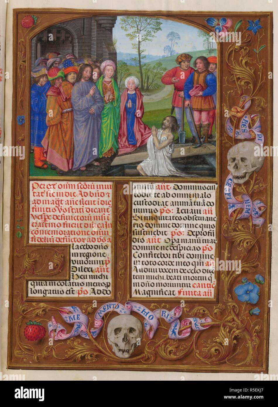 Sanctorale.The Rising of Lazarus. Isabella Breviary. Breviary, Use of the Dominicans ('The Breviary of Queen Isabella of Castile'). c1497. Source: Add. 18851 f.481. Author: Master of James IV of Scotland. - Stock Image