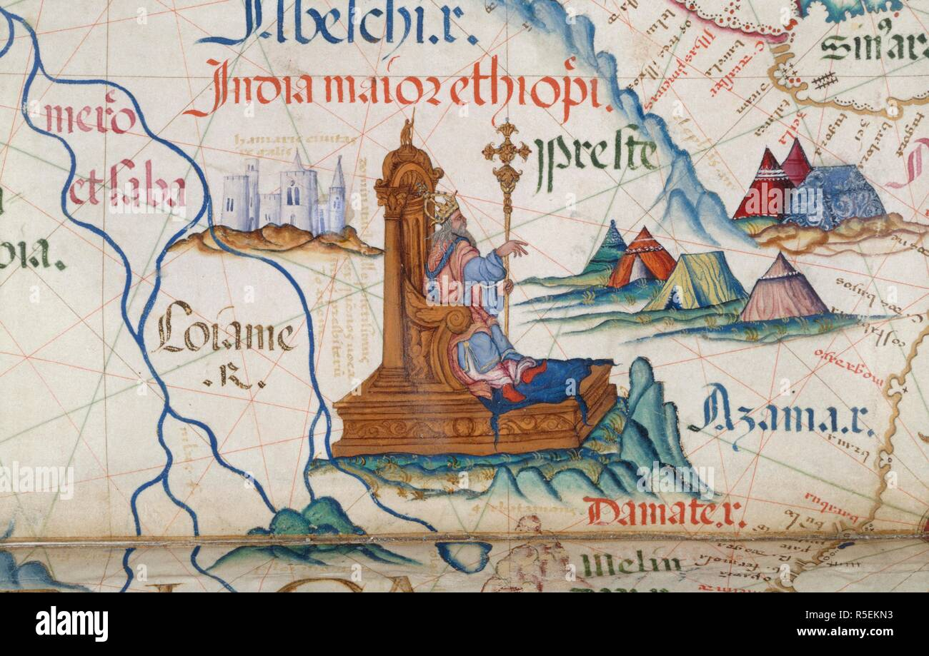 Detail] Prester John sitting on his throne in Ethiopia; part ... on robbers map, maginot line map, princess map, adventure map, google map, disney's map, mtg map, mavs map, mischief map,