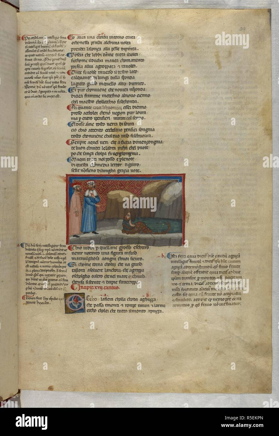 Inferno: Virgil summons the beast Geryon. Dante Alighieri, Divina Commedia ( The Divine Comedy ), with a commentary in Latin. 1st half of the 14th century. Source: Egerton 943, f.30. Language: Italian, Latin. - Stock Image