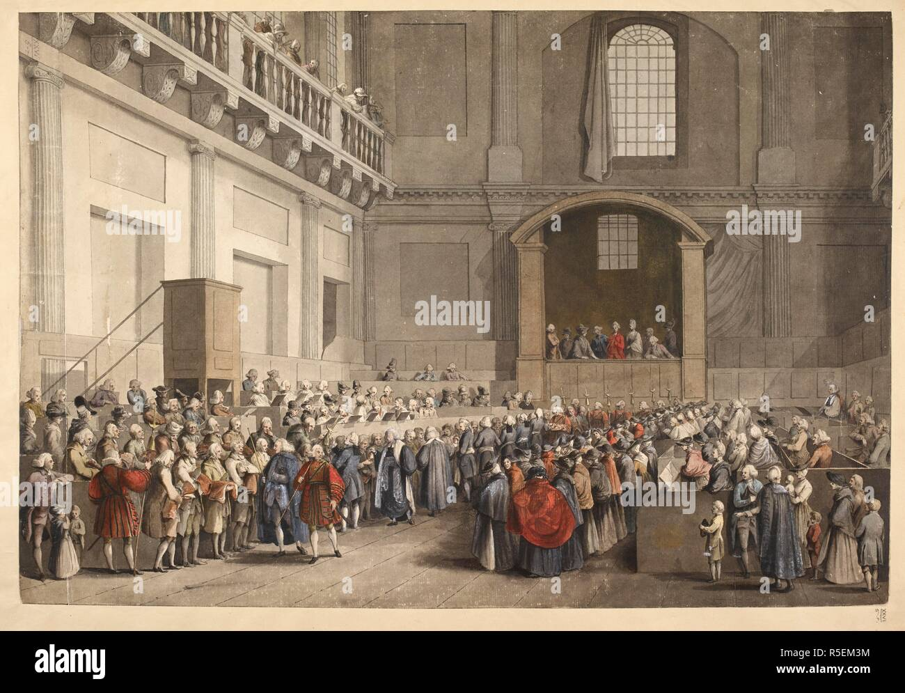 The Maundy Service in the Banqueting House, Whitehall. The interior of the Chapel Royal with George III and Charlotte watching from the royal box as the poor line up to receive charity; men on the left and women on the right; members of the congregation in pews on the right and the choir on the left. . A colored view of the distribution of his Majesty' Maundy by the sub-almoner, in the Chapel Royal, at Whitehall. London, 1773. Source: Maps.K.Top.26.5.r. Author: Grimm, Samuel Hieronymous. Stock Photo